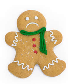 Gingerbread Man is sad. Oh, and it has nothing to do with being eaten.